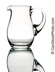 Glass pitcher, isolated - Glass pitcher on a white...