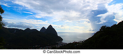 Silhouette of the Pitons - The famous Pitons of Saint Lucia...