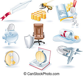 Vector business icons set - Set of business related...