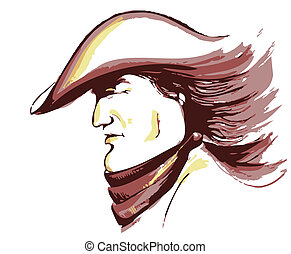 Vector cowboy face.Graphic portrait of strong man