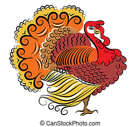 Color turkey.Vector Thanksgiving day