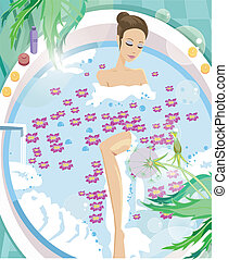 Young woman having aromatherapy bath