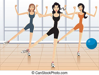 Front view of women exercising