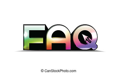 3d faq text - 3d frequently asked questions text colorful,...