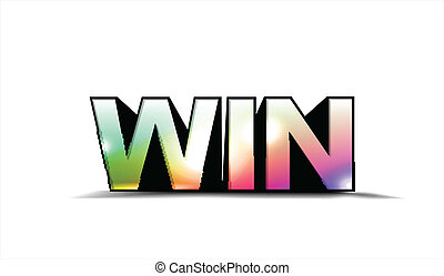 colorful win text - 3d colorful win text, isolated on white...