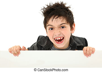 Silly Face Boy Child Holding Blank Canvas over White -...