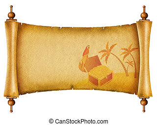 Old paper background.Antique scroll with chest on island.