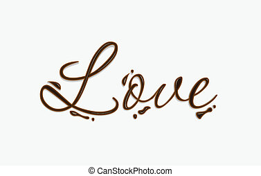 Love text - Love text made of chocolate vector design...