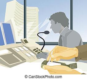 trabalho,  stockbrokers, escritório