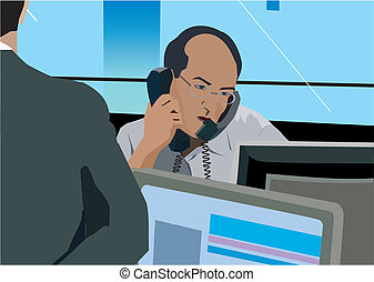 Businessman on phone at desk