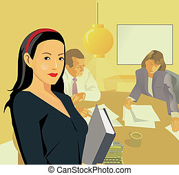 Business woman holding a file