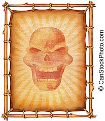 Old paper scroll with skull decor.Background texture