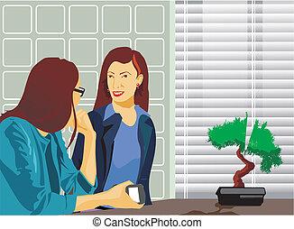 falando, mulheres negócios, escritório