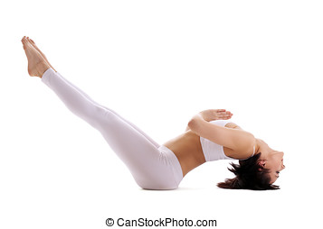 joven, mujer, entrenamiento, yoga, -, pez, postura, blanco