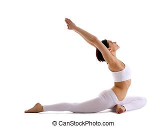 mujer,  yoga,  Yong, paloma, postura,  -,  asana