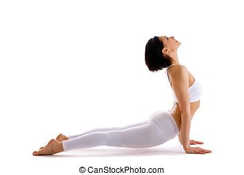 jovem, mulher, treinamento, Ioga, -, cima, enfrentando,...