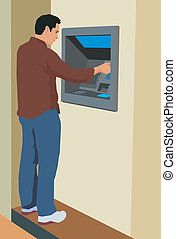 Young man using an ATM machine