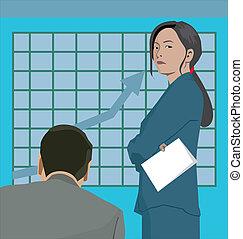 gráfico, linha, fundo, negócio, pessoas