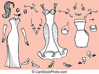Vector illustration of woman dress and accessories