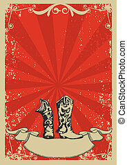 Cowboy boots.Red background with grunge elements decorationl...