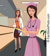 Doctor and a nurse walking along a hospital corridor