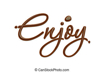 Chocolate enjoy text - Enjoy text made of chocolate vector...