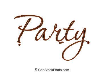 Chocolate party text made of chocolate vector design...