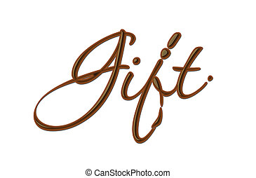 Chocolate gift text made of chocolate vector design element.