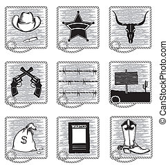 Cowboy life elements Vector black silhouettes symbols on...