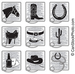 Cowboy life elements .Vector black silhouettes symbols on...