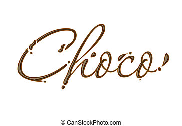 Chocolate choco text made of chocolate vector design...