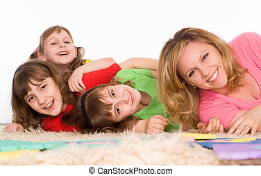 adult, background, beautiful, carpe - happy family of a four...