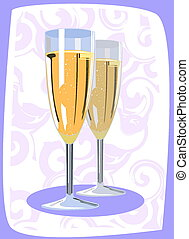 flutes - Vector illustration of two champagne flutes
