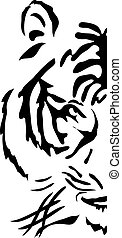 animal - Half muzzle of bengal tiger, vector illustration