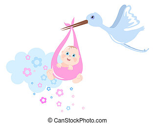 Birth - Stork brings baby, vector illustration