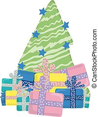 Christmas tree with stars and several gifs, vector...