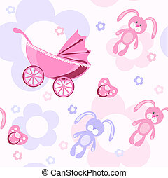 birth - Beautiful baby pattern, vector illustration
