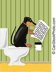 Dog reads news in restroom, vector illustration