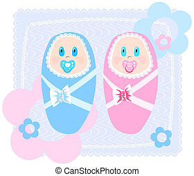 new-born babies - Vector illustration of new-born babies in...