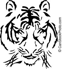 bengal tiger head - Vector illustration of bengal tiger head...