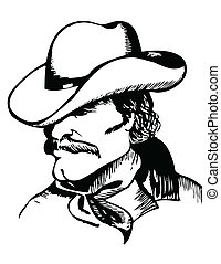 Cowboy portrait.Vector graphic black  image