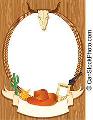 Cowboy poster background for design with vector cowboy elements