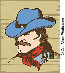 Cowboy portrait.Vector graphic image