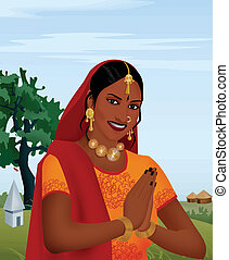 Smiling indian girl joining hands; as a  welcoming gesture