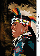 Side view of a red indian