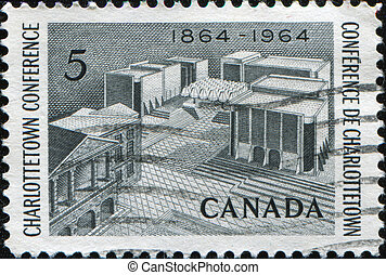 Charlottetown Conference - CANADA - CIRCA 1964: A stamp...