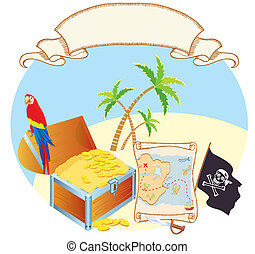 Pirates treasure with parrot and palms Vector cartoons map -...