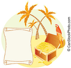 Pirates treasure with parrot and palms Vector cartoons