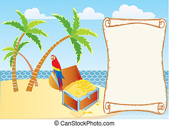 Pirate's treasure with parrot and palms. Vector cartoons background