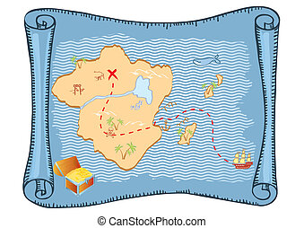 Treasure map Vector old paper background